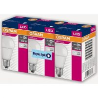 Osram Led Value 3 Lü Ampul Beyaz Işık 8.5 W 60Watt