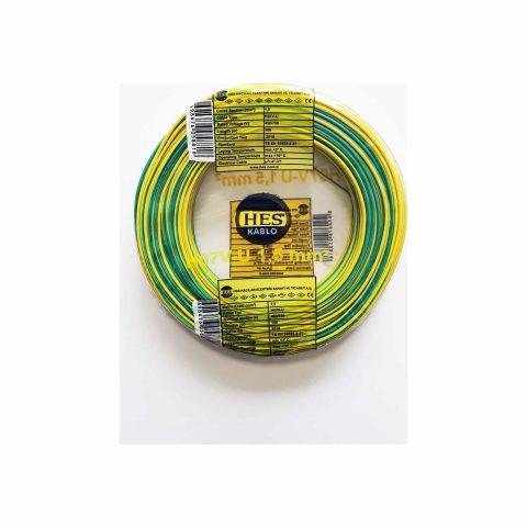Hes Nya Kablo Tek Damar Sarı Yeşil 100 m 1,5 mm