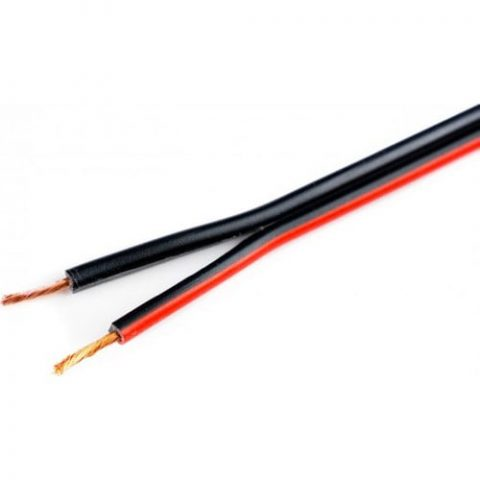 Hünka Kablo 2 x 0,75 mm H03VH-H Bitişik Yassı Kordon Hoparlör Kablosu Siyah Tam Bakır Kırmızı 10 m