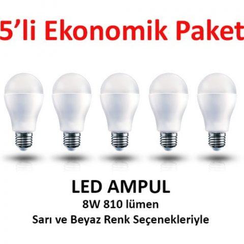 5'li Ekonomik Paket LED Ampul 8W Sarı - 220 Volt