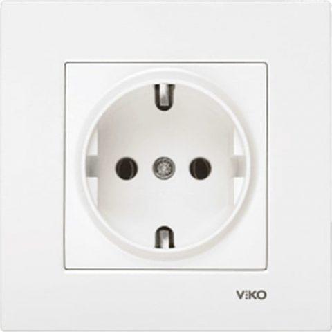 Viko 90967008 - Karre Topraklı Priz Beyaz Çerçeveli